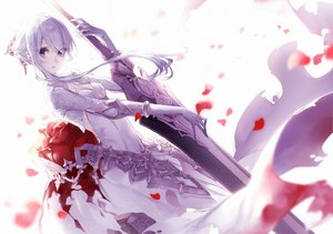 Rating: Safe Score: 119 Tags: dress elbow_gloves flowers gloves gray_eyes jpeg_artifacts rose short_hair sinoalice snow_white_(sinoalice) sword weapon white_hair yoggi_(stretchmen) User: BattlequeenYume