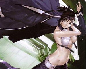 Rating: Questionable Score: 9 Tags: bakuretsu_tenshi black_eyes black_hair breasts cleavage hakua_ugetsu navel sei underboob wet User: Oyashiro-sama