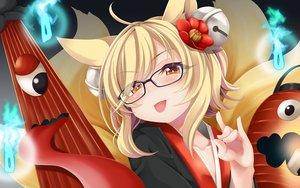 Rating: Safe Score: 82 Tags: animal_ears blonde_hair blush brown_eyes close foxgirl glasses inari_(sennen_sensou_aigis) multiple_tails ogami_kazuki sennen_sensou_aigis short_hair tail User: RyuZU