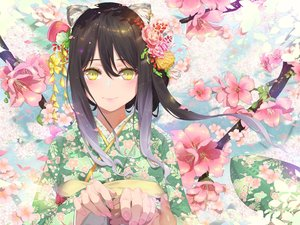 Rating: Safe Score: 72 Tags: animal_ears black_hair catgirl cherry_blossoms close flowers japanese_clothes kashiwazaki_shiori kimono long_hair petals princess_connect! waterring yellow_eyes User: RyuZU