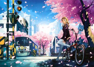 Rating: Safe Score: 76 Tags: bicycle blonde_hair blue_eyes building cherry_blossoms city flowers katou_akatsuki long_hair original thighhighs train tree User: Zloan