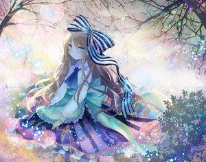 Rating: Safe Score: 70 Tags: aqua_eyes blonde_hair bow dress kazu_(muchuukai) long_hair original tree User: mattiasc02