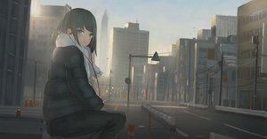 Rating: Safe Score: 75 Tags: building city headphones original scarf sunset tagme_(artist) User: RyuZU