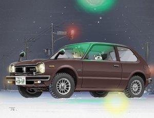 Rating: Safe Score: 18 Tags: animal car dog jetbrick night original signed snow winter User: RyuZU