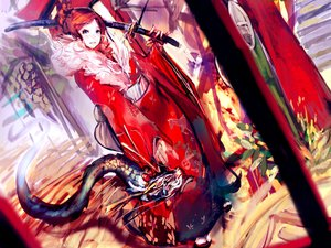 Rating: Safe Score: 79 Tags: blue_eyes dragon japanese_clothes katana original red_hair so-bin sword weapon User: BoobMaster