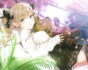 Rating: Safe Score: 63 Tags: bed blonde_hair blue_eyes buriki cropped leaves long_hair scan shirt skirt teddy_bear thighhighs twintails User: mattiasc02