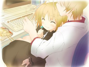 Rating: Safe Score: 9 Tags: blonde_hair candy computer favorite food game_cg happy_margaret! kokonoka lollipop minahase_karin User: 秀悟