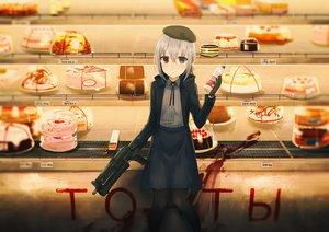 Rating: Safe Score: 36 Tags: bicolored_eyes blood cake chihuri405 drink food gloves gray_hair gun hat original pantyhose skirt weapon User: otaku_emmy