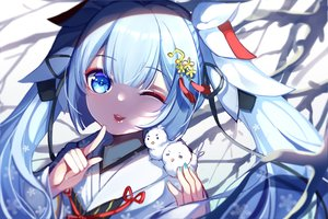 Rating: Safe Score: 29 Tags: animal aqua_eyes aqua_hair bird cat_smile chuor_(chuochuoi) close hatsune_miku japanese_clothes kimono long_hair twintails vocaloid wink yuki_miku User: BattlequeenYume