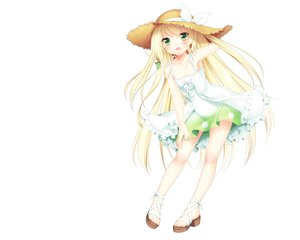 Rating: Safe Score: 148 Tags: blonde_hair blush dress etou_(cherry7) green_eyes hat summer_dress User: Wiresetc