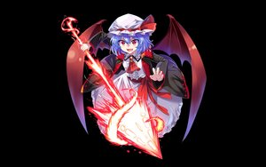Rating: Safe Score: 41 Tags: black_hair blue_hair e.o. hat red_eyes remilia_scarlet short_hair spear touhou weapon wings User: RyuZU