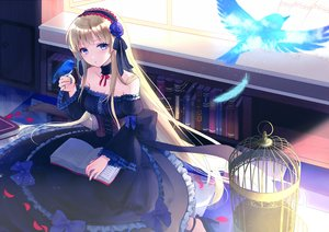 Rating: Safe Score: 55 Tags: animal bird blonde_hair blue_eyes book bow cage corset dress feathers flowers goth-loli lolita_fashion long_hair original rose tagme_(artist) User: BattlequeenYume