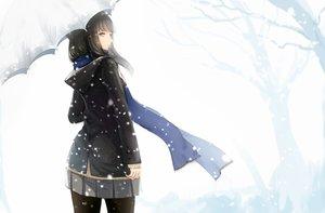 Rating: Safe Score: 90 Tags: black_eyes black_hair kikivi long_hair original pantyhose scarf school_uniform skirt snow tree umbrella winter User: RyuZU