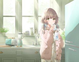 Rating: Safe Score: 50 Tags: blush brown_hair drink food hoshiibara_mato long_hair original twintails User: BattlequeenYume