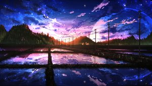 Rating: Safe Score: 155 Tags: building clouds forest landscape moon night nobody original reflection scenic sky smile_(qd4nsvik) stars sunset tree water User: RyuZU