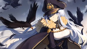 Rating: Safe Score: 68 Tags: animal bird bisonbison blue_eyes cape chain close clouds cross feathers hat long_hair military sky tagme_(character) uniform white_hair zhanjian_shaonu User: luckyluna