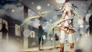 Rating: Safe Score: 185 Tags: boots green_eyes green_hair hatsune_miku long_hair pudding_(8008208820) scarf skirt snow thighhighs train twintails vocaloid when_the_first_love_ends_(vocaloid) winter User: FormX