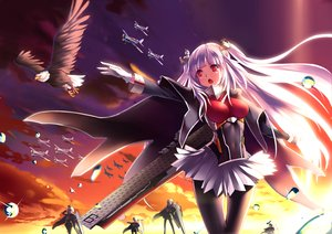 Rating: Safe Score: 33 Tags: animal anthropomorphism bird cape clouds gloves group long_hair mikoto_(mio) navel pantyhose purple_hair red_eyes skirt sky tagme_(character) twintails zhanjian_shaonu User: BattlequeenYume