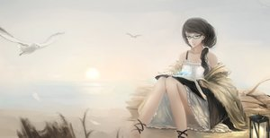 Rating: Safe Score: 86 Tags: animal bird black_hair book dress glasses kikivi long_hair original ponytail User: Flandre93