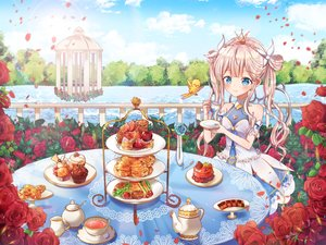 Rating: Safe Score: 26 Tags: animal aqua_eyes bird blonde_hair blush braids cake clouds crown dress drink flowers food fruit long_hair lp_(siston) original petals rose sky strawberry twintails water User: otaku_emmy