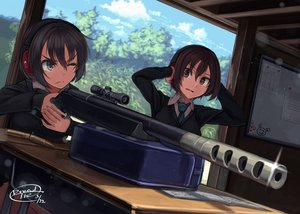 Rating: Safe Score: 18 Tags: 2girls black_hair book brown_eyes clouds dreadtie gray_eyes gun headphones original paper scenic seifuku short_hair signed sky tie tree weapon User: RyuZU
