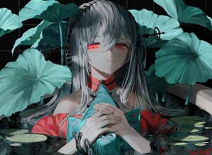Rating: Safe Score: 62 Tags: a0lp arknights close gray_hair leaves long_hair polychromatic red_eyes signed skadi_(arknights) water User: BattlequeenYume