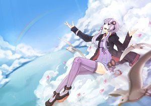 Rating: Safe Score: 84 Tags: animal animal_ears bird bunny_ears bunnygirl clouds hoodie petals purple_eyes purple_hair rainbow sky thighhighs twintails vocaloid voiceroid yuu_(kyuutai_kansetsu) yuzuki_yukari User: opai