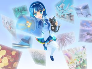 Rating: Safe Score: 34 Tags: animal aqua_eyes blue_hair bow cat headband madobe_nanami microsoft os-tan photo short_hair skirt thighhighs windows wink User: Kumacuda