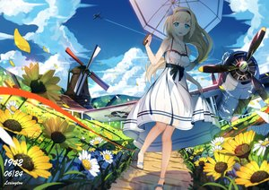 Rating: Safe Score: 200 Tags: aircraft anthropomorphism aqua_eyes blonde_hair breasts cleavage clouds dress flowers headband lexington long_hair lu'' necklace petals ponytail sky summer_dress sunflower umbrella windmill zhanjian_shaonu User: Wiresetc