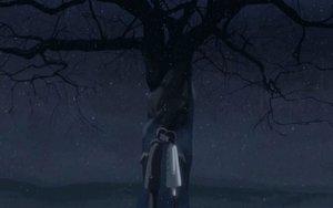 Rating: Safe Score: 21 Tags: byousoku_5_centimetre kiss night snow tree User: Oyashiro-sama