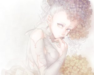Rating: Safe Score: 60 Tags: cropped dress flowers gray_eyes long_hair mizutame_tori original polychromatic ribbons white white_hair User: mattiasc02