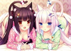 Rating: Safe Score: 554 Tags: 2girls animal_ears blush breasts catgirl chocola_(sayori) cleavage nekopara no_bra pajamas panties sayori striped_panties tail underwear vanilla_(sayori) User: Wiresetc