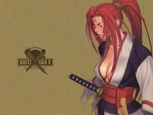 Rating: Questionable Score: 12 Tags: baiken cleavage guilty_gear japanese_clothes red_hair scar sword weapon User: tatchan