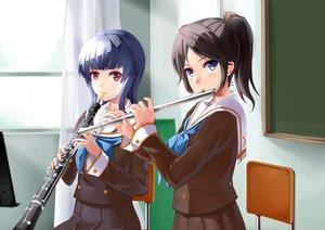 Rating: Safe Score: 93 Tags: 2girls black_hair blue_eyes blue_hair flute hibike!_euphonium instrument kasaki_nozomi mizuki_ame ponytail purple_eyes school_uniform yoroizuka_mizore User: Wiresetc