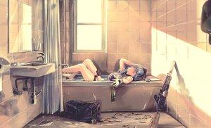 Rating: Safe Score: 91 Tags: anthropomorphism bath bathtub breasts byori girls_frontline gloves gray_hair green_eyes gun hat hk416_(girls_frontline) mirror reflection water weapon User: Nepcoheart