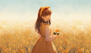 Rating: Safe Score: 33 Tags: black_hair blush bow dress flowers headband ji_dao_ji long_hair original User: RyuZU