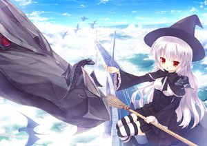 Rating: Safe Score: 112 Tags: bow clouds dragon dress gray_hair hat long_hair original red_eyes sky thighhighs witch yuku_(kiollion) User: Wiresetc