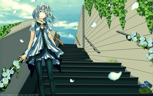 Rating: Safe Score: 121 Tags: beatless blue_eyes dress flowers lacia pantyhose petals redjuice rose stairs tie vector watermark white_hair User: gnarf1975