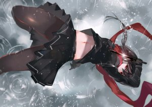 Rating: Safe Score: 105 Tags: black_hair knife long_hair navel original pantyhose rain red_eyes scarf seifuku vardan water weapon User: RyuZU