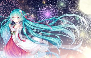 Rating: Safe Score: 53 Tags: chinese_clothes fireworks hatsune_miku moon vocaloid yuri_to_hizakura User: FormX