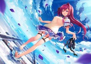 Rating: Safe Score: 111 Tags: barefoot clouds front_wing long_hair nanaca_mai original red_hair seifuku skirt sky water User: BattlequeenYume