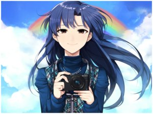 Rating: Safe Score: 67 Tags: blue_hair brown_eyes camera close clouds hitoto idolmaster kisaragi_chihaya long_hair necklace rainbow sky User: FormX