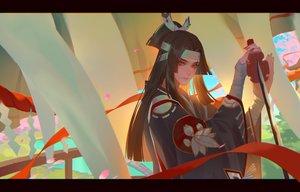 Rating: Safe Score: 49 Tags: all_male bandage black_hair brown_eyes headband katana lian_yao long_hair male onikiri_(onmyouji) onmyouji petals sword weapon User: RyuZU