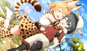 Rating: Safe Score: 79 Tags: 2girls animal_ears anthropomorphism catgirl elbow_gloves gloves haribote_(tarao) hug kaban kemono_friends lucky_beast_(kemono_friends) pantyhose serval shorts tail thighhighs User: RyuZU