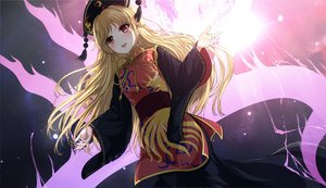 Rating: Safe Score: 110 Tags: aliasing blonde_hair chinese_clothes headdress junko long_hair magic miyakouji red_eyes touhou User: RyuZU