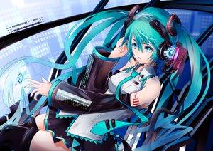 Rating: Safe Score: 100 Tags: ajigo aqua_eyes aqua_hair hatsune_miku headphones long_hair tie twintails vocaloid User: FormX