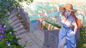 Rating: Safe Score: 24 Tags: animal breasts brown_eyes building butterfly chinese_clothes chinese_dress city cleavage dog dress ge_xi gloves hat long_hair orange_hair original stairs User: RyuZU