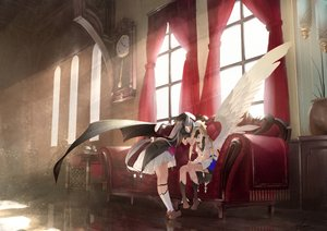 Rating: Safe Score: 53 Tags: 2girls aliasing blonde_hair couch dress gloves gray_hair kneehighs long_hair original reflection saraki signed twintails wings User: BattlequeenYume
