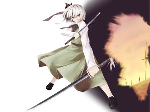 Rating: Safe Score: 1 Tags: katana konpaku_youmu sword touhou weapon white_hair User: Oyashiro-sama
