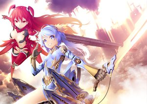 Rating: Questionable Score: 60 Tags: armor blue_eyes blue_hair breasts cleavage kunieda original red_eyes red_hair sword thighhighs weapon User: Oyashiro-sama